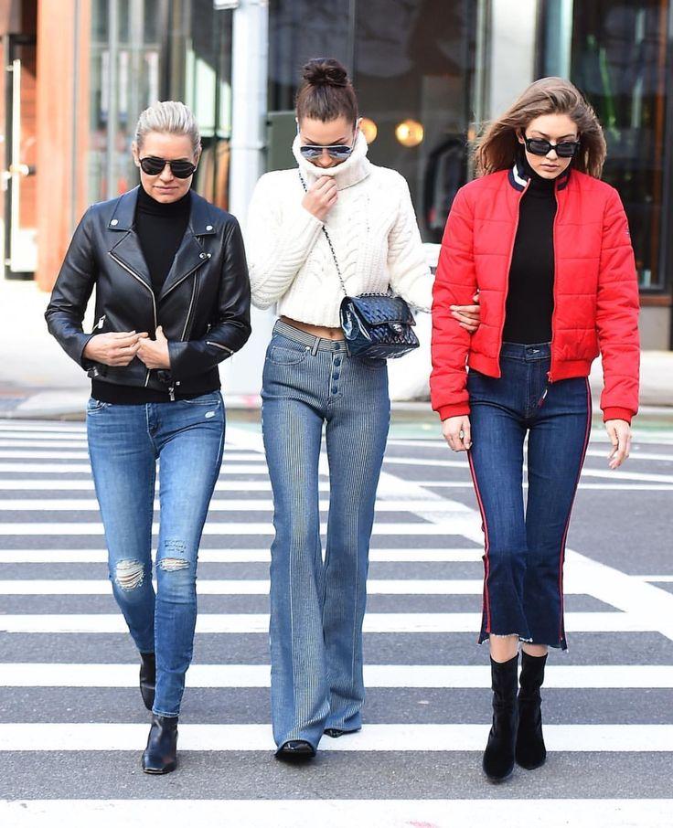 Yolanda Hadid , Bella Hadid and Gigi Hadid in NYC