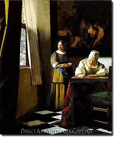 woman writing a letter with her maid vermeer manufacturing