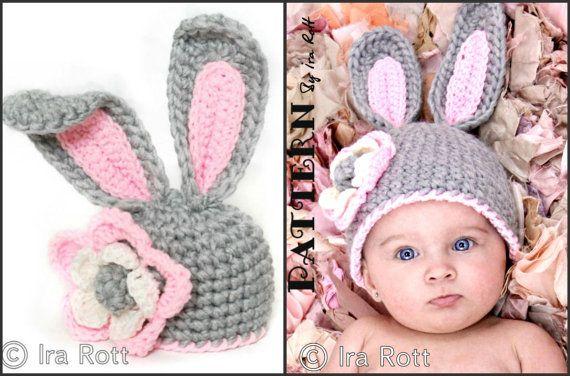 PATRÓN de ganchillo grueso Bunny sombrero con flor PDF patrón para 5 tamaños