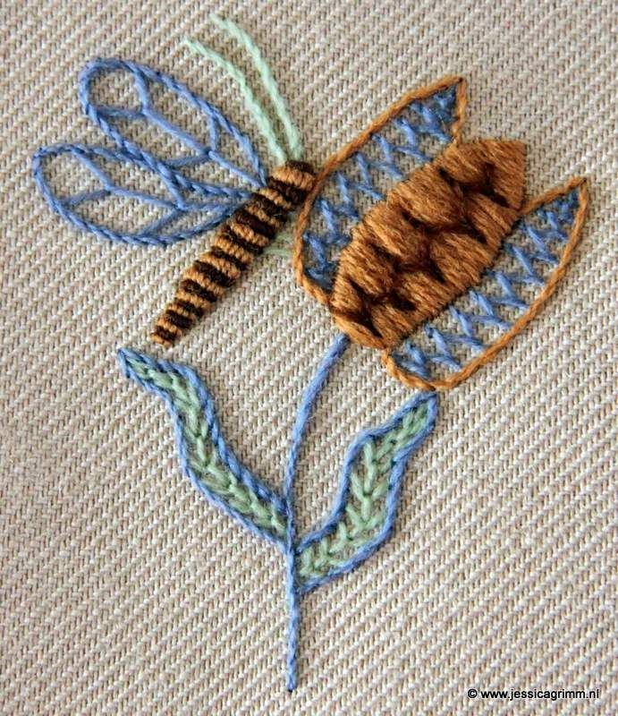crewel embroidery after 17th century dutch tile
