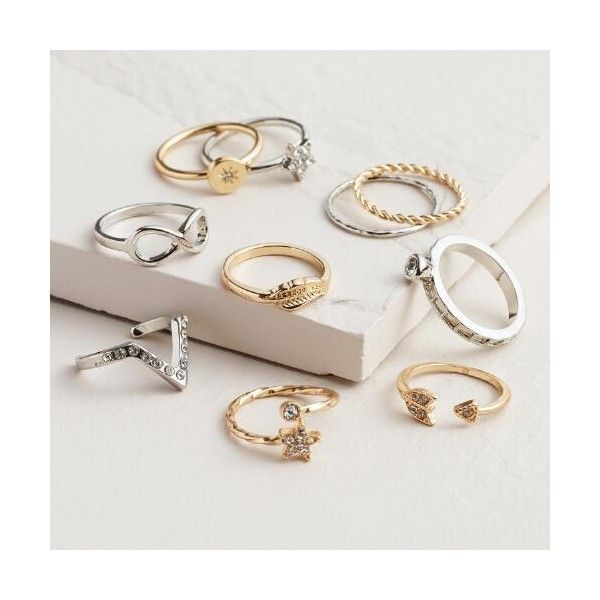Cost Plus World Market Gold and Silver Infinity Midi Rings ($13) ❤ liked on Polyvore featuring jewelry, rings, silver, cost plus world market, infinity ring, midi rings, top finger rings and above-the-knuckle rings