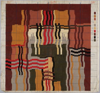 """ontwerptekening voor tapijt """"Dessin voor Vergeer""""   Peters, Mechanische Tapijtweverij H.J. (Deventer) - Europeana"""