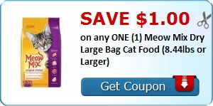 New Coupon!  Save $1.00 on any ONE (1) Meow Mix Dry Large Bag Cat Food (8.44lbs or Larger) - http://www.stacyssavings.com/new-coupon-save-1-00-on-any-one-1-meow-mix-dry-large-bag-cat-food-8-44lbs-or-larger/