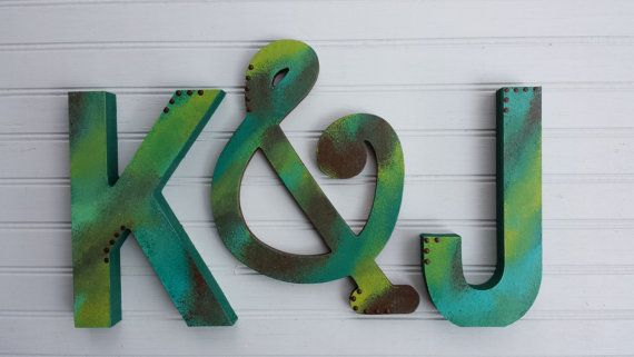 Rustic Wall Letters  Vintage Kids Room  by HappyMooseGardenArt - The rustic initials are perfect for any room!
