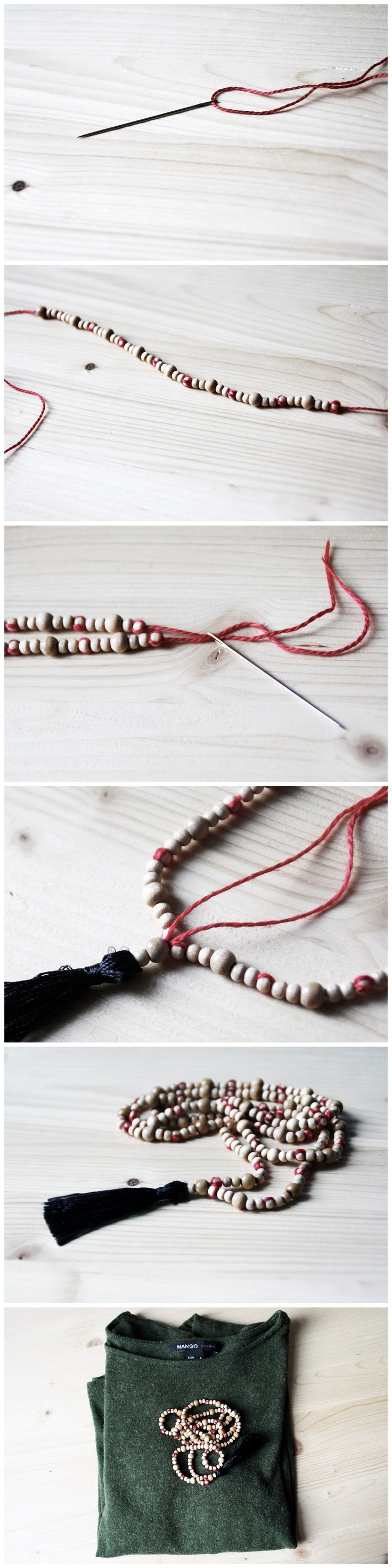 DIY Boho Jewelry: Tassel Chain with Wooden Beads