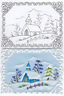 pattern - card - Xmas house