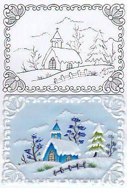 pattern - card - Xmas house