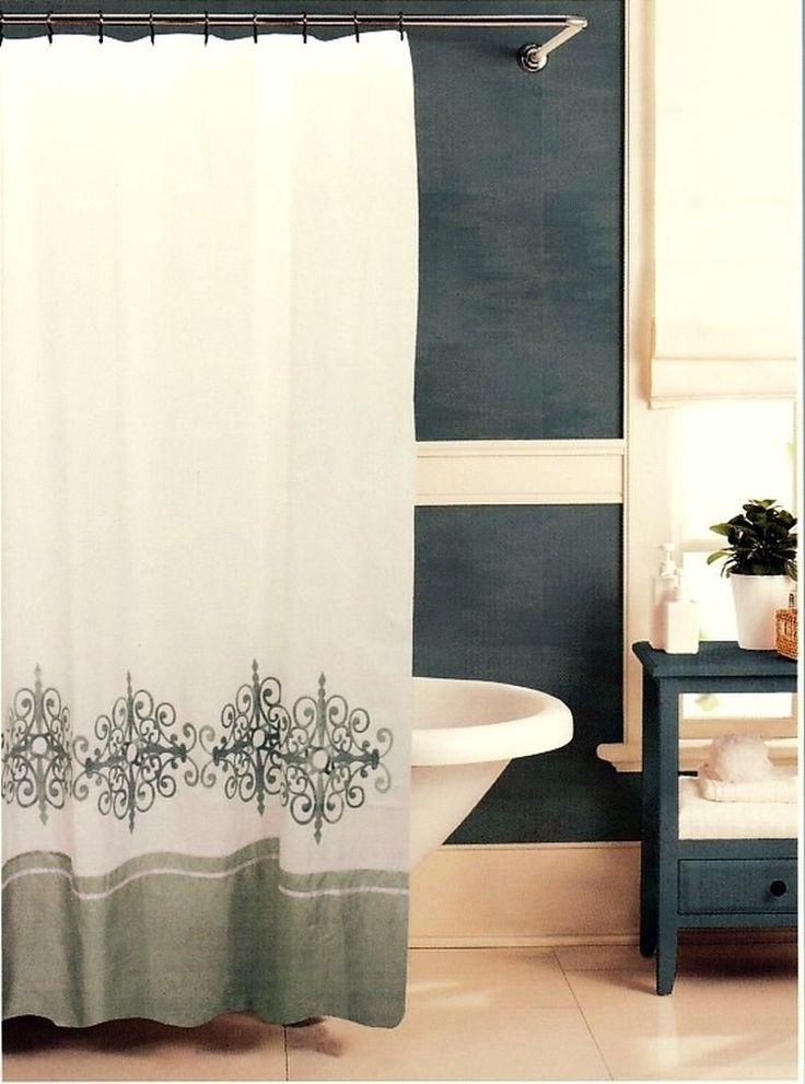 Raymond Waites Aston Silver U0026 White Embroidered Fabric Shower Curtain   Shower  Curtains
