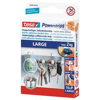 tesa® Powerstrips® LARGE doppelseitige selbstklebende Strips Weiß 10er-Pack