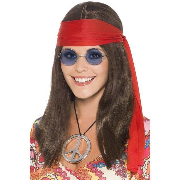 Adults Woodstock Hippie Wig Kit Glasses Medallion Headband 60s Fancy Dress Peace