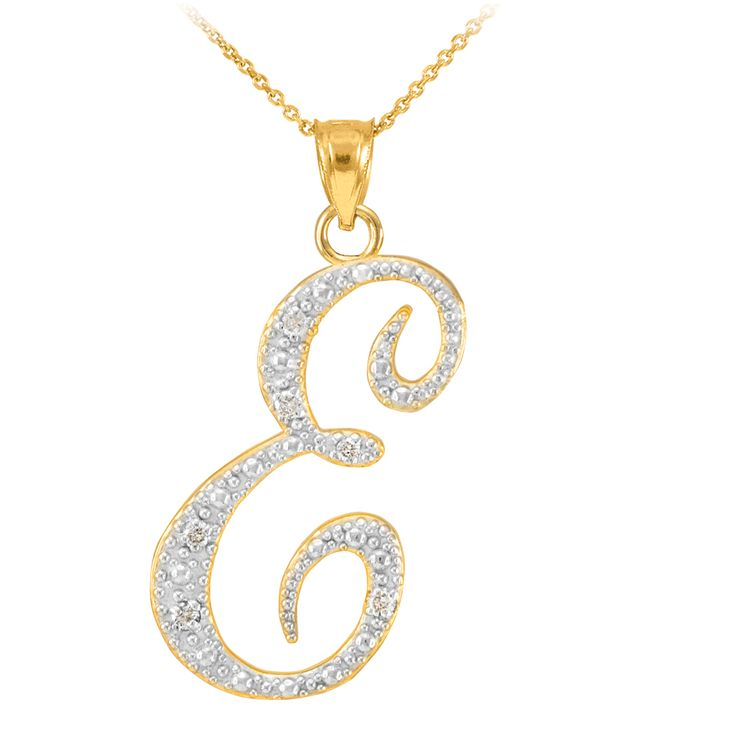 gold letter script e diamond initial pendant necklace