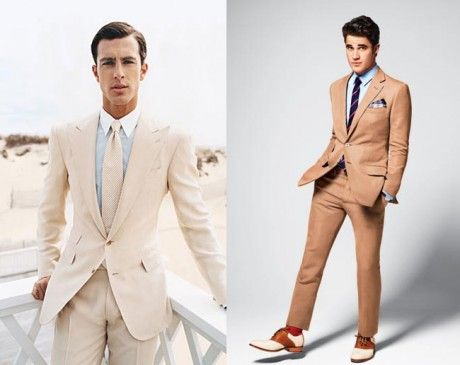 Retro colours, reminds us of our parents wedding photos! Like it?  #Mens #Wedding #Suits