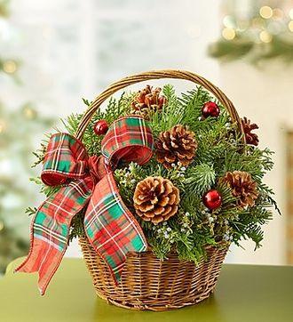 Christmas Evergreen Basket #Pinecones #Festive