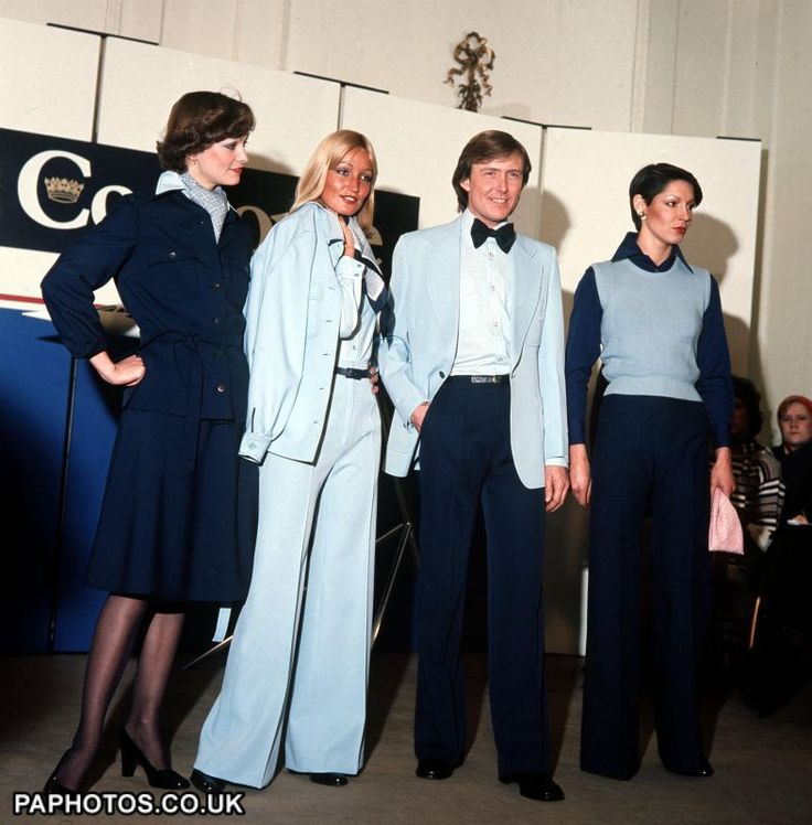 MODELS DISPLAYING DESIGNS BY HARDY AMIES OF UNIFORMS FOR CABIN CREWS OF BRITISH AIRWAYS CONCORDE IN LONDON 1976