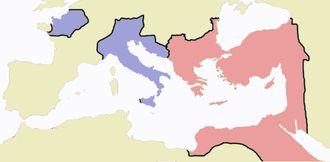 Empire romain d'Occident et d'Orient en 476