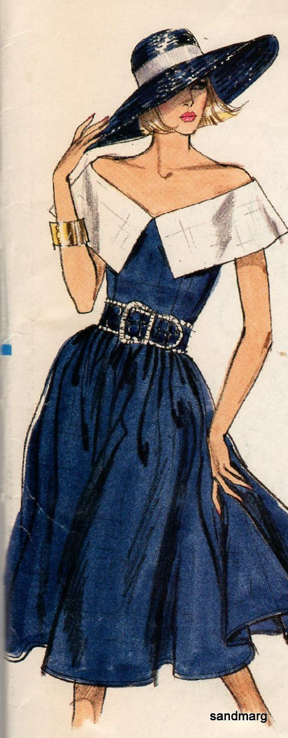 I just love this dress. Too bad it's 1980's Vogue, I would try to make it. (Of course, I need the hat, too!)