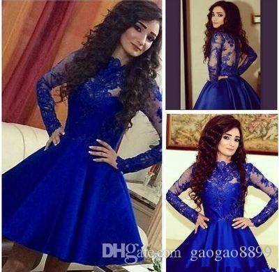 Stylish Royal Blue Lace Stain Short Summer Holiday Beach Party Homecoming Dresses Scoop Long Sleeve Cheap Graduation Prom Dress Graduation Dress Black Graduation Dress Styles From Gaogao8899, $78.4| Dhgate.Com