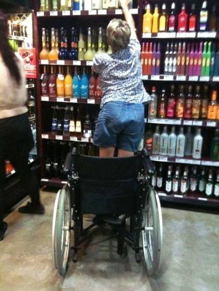 """Previous Pinner wrote """"It's a Miracle!"""" when will the world get it that not all who use wheelchairs are paraplegics?! Things like this make me livid! As my hubby said when I showed him this """"...Sometimes you need it to cope with the day"""" & to that I add you need the alchie to cope with the ignorant fools who can't understand that you can be disabled and still have 'some' function."""