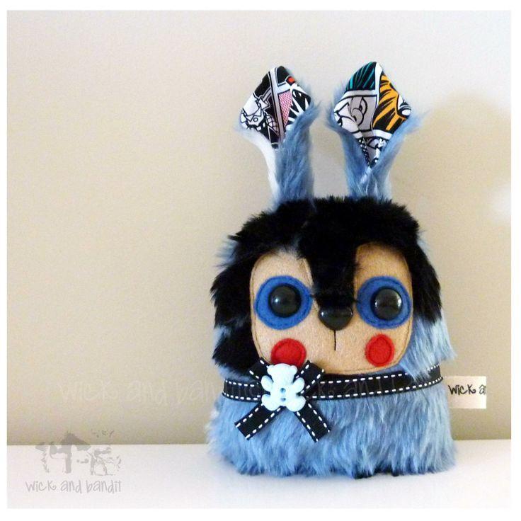 $15 Rabbit Plush Blue and Black by Wickandbandit on Handmade Australia