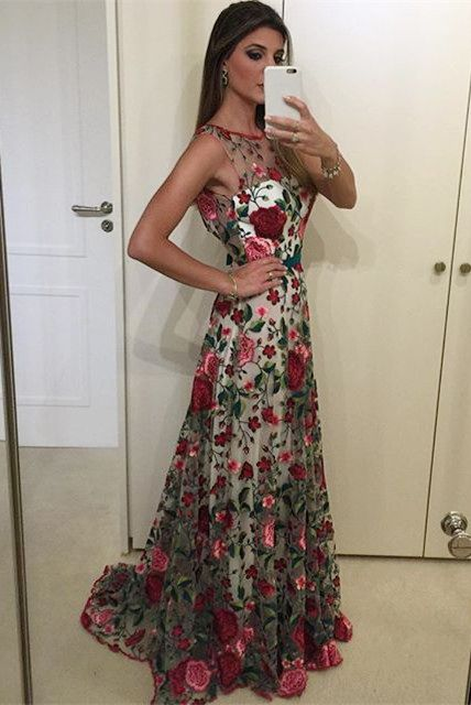 prom dresses, 2017 prom dresses, floral prom party dresses, elegant floral evening dresses, long prom dresses with train, vestidos