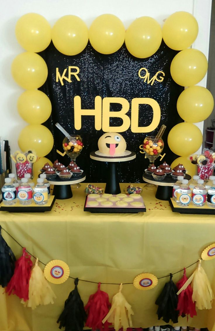 Emoji dessert table | Party Ideas | Birthday party ...