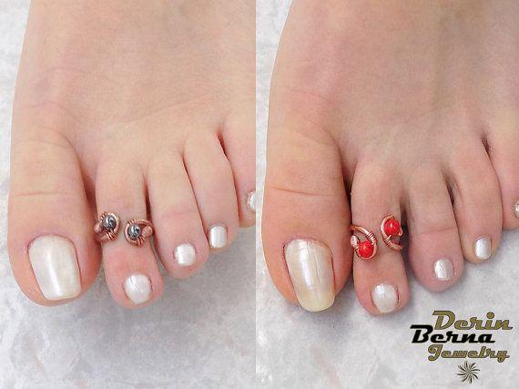 Toe ringwire wrapp copper toe ringadjustable by BernaDerinJewelry