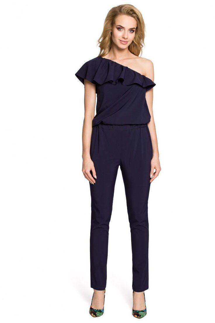 Ολόσωμη φόρμα με έναν ώμο και βολάν95% Polyester 5% Spandex