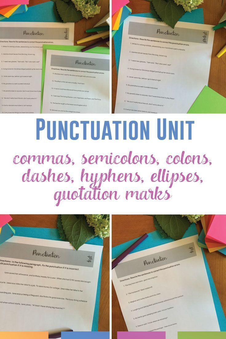 Digital Punctuation Bundle Semicolons Colons Commas Quotation Marks Quotation Marks High School English Lesson Plans Punctuation