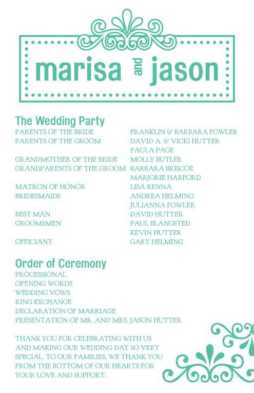 one page wedding program template template pinterest wedding