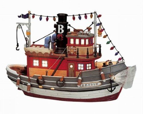 """Lemax 2001 Plymouth Corners Holiday Collectible ~ """"Tugboat Bessie"""" ~ Lighted…"""