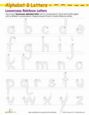 rainbow letters practice writing lowercase letters summer school pre k and k preschool. Black Bedroom Furniture Sets. Home Design Ideas