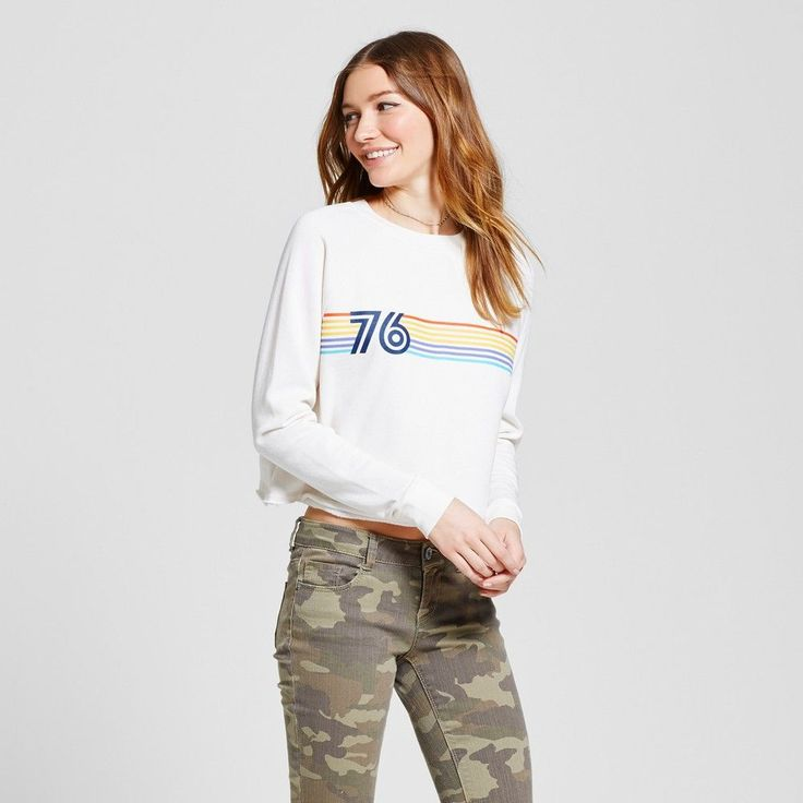 Women's Cropped Crew Sweatshirt - Mossimo Supply Co. Cream with Graphic XS