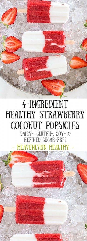 Healthy Strawberry Coconut Popsicles - plant based, gluten free, refined sugar free, vegan - heavenlynnhealthy.com