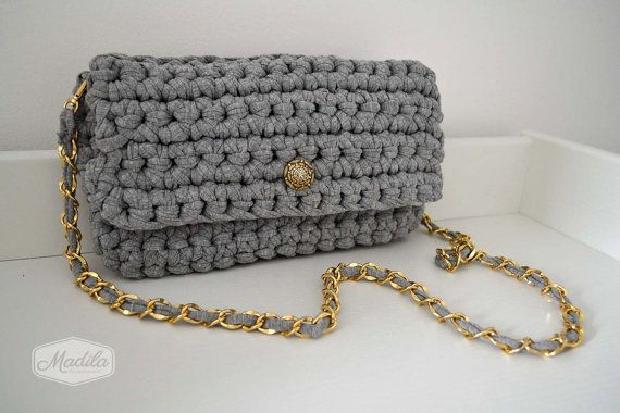 Cotton handbag crochet clutch handmade with eco friendly knitted Tshirt yarn / Trapillo. Bag shoulder strap