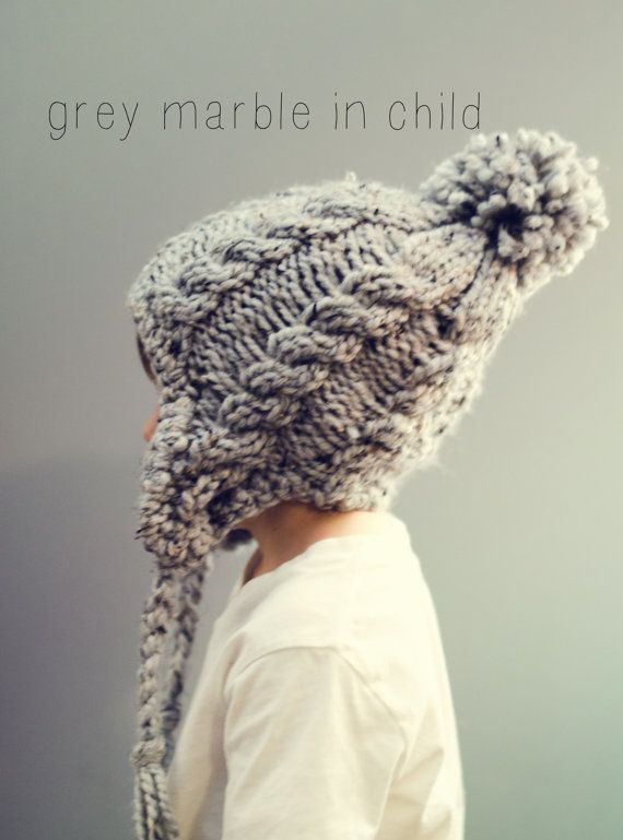 Chunky Earflap Hat Crochet Pattern Free : Cable Hat Chunky Knit Adult Beanie Ear Flap Pom Pom ...