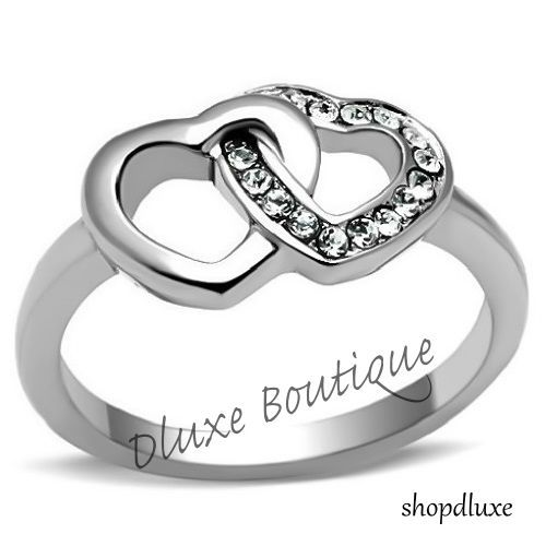 Women's Stainless Steel Cz Interlocking Double Heart Promise Ring Band Size 5-10