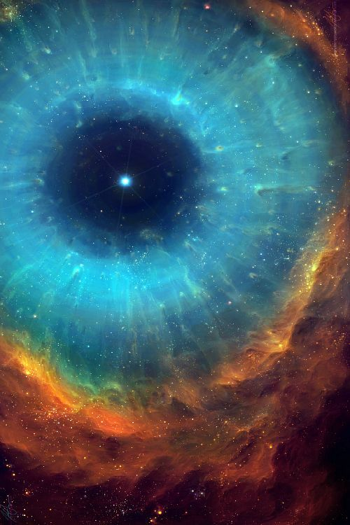 "It's labeled the ""Helix Nebula"" however even ""up close"" you can see subtle threaded features that resemble the way an eye's stroma creates colorful ripples near the surface."