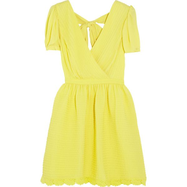 ALICE by Temperley Mina crepe mini dress (£183) ❤ liked on Polyvore featuring dresses, vestidos, bright yellow, wrap dress, open back dress, mini wrap dress, short dresses and yellow fitted dress