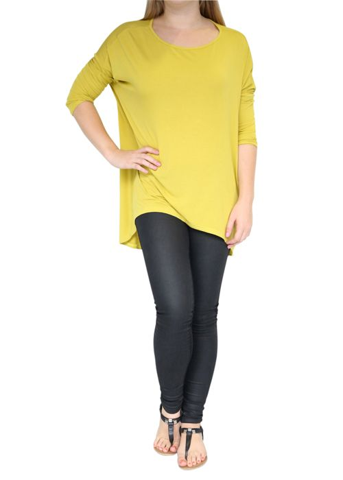 CLOTHING :: Chartreuse Jersey Tunic Top -