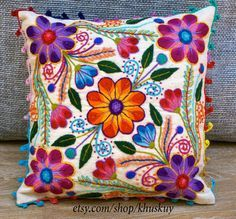 Peruvian embroidered pillow Hand embroidered flowers Sheep & alpaca wool 16 x 16…
