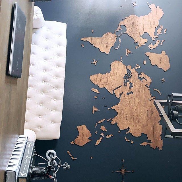 Wand Holz Karte Der Weltkarte Reise Push Pin Karte Rustikale Haus Holz Wandkunst 5 Jahrestagsgeschenk Fur Mann Freund Wand Kunst Dekor Weltkarte Haus Holz Etsy