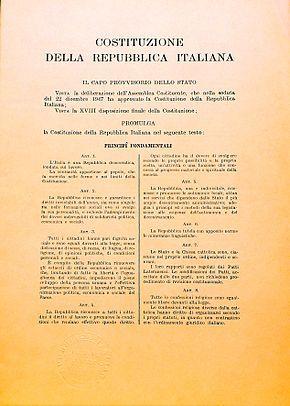 Costituzione della Repubblica Italiana entrata in vigore 1° gennaio 1948