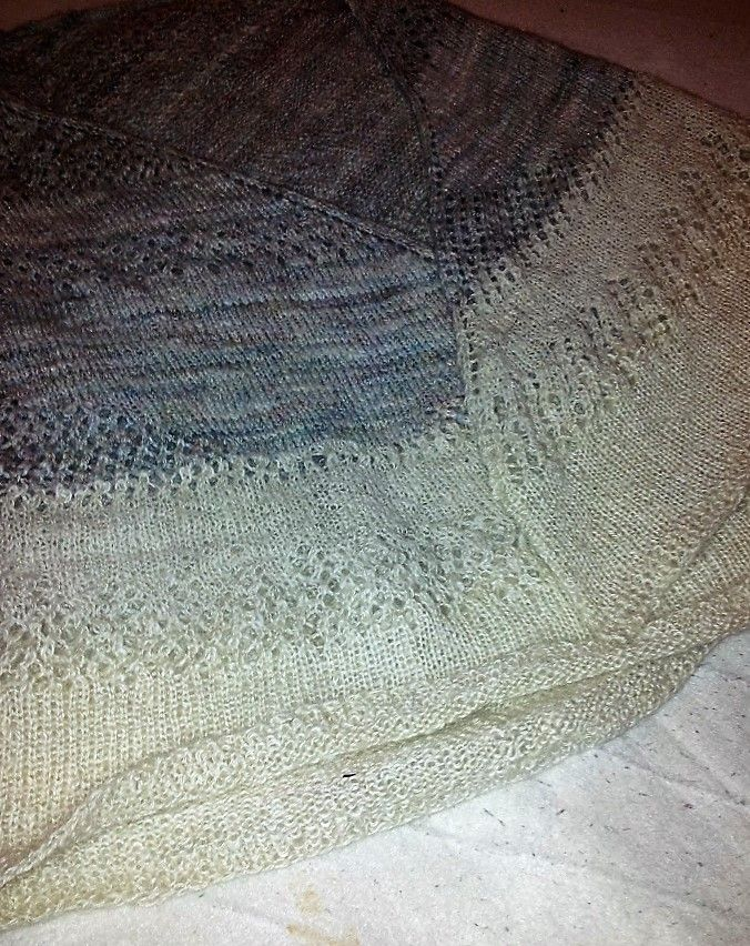Handspun fibre blends My first attempt at a lace knitted shawl (not blocked)