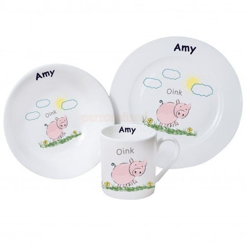 Personalised Oink Breakfast Set from Personalised Gifts Shop - ONLY £29.35  sc 1 st  Pinterest : personalised baby plate set - Pezcame.Com