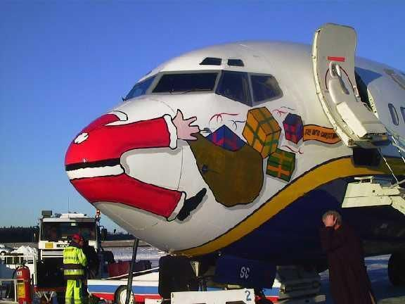 ♫ Santa got run over by an airplane... flying round the world on Christmas Eve ♪  ;)