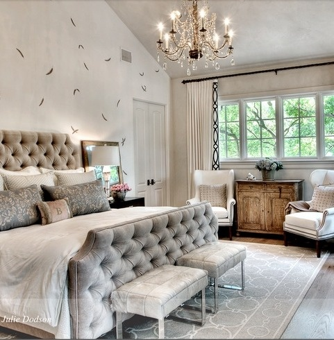 THAT grey tufted headboard and footboard!!!! Want!! That's the perfect one I want!!. Maybe without the corners cutout though. And maybe a little darker color grey in a velvet material. Possibly with nailheads? To go with white down comforter, black blanket, & black rug