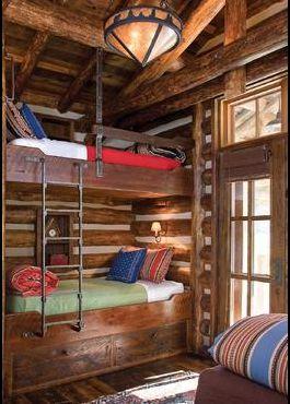 .Bathroom Design, Montana Logs, Cabin Bunk, Bunk Beds, Design Interiors, Bunkroom, Bunk Room, Bunkbeds, Logs Cabin