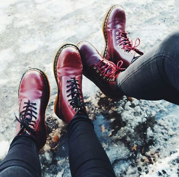 Double Docs: The 1460 and 1460 For Life boots in cherry red, shared by delia_kl.