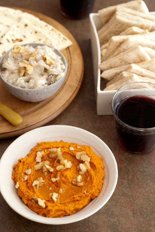 Recipes for Syrian or Lebanese Muhammarah (pepper spread), Persian Borani-e Bâdenjân (onion and eggplant dip) and Whole-wheat Crackers with Mastic. Global recipes via Design Sponge.