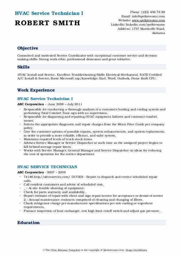 Hvac Technician Job Description Resume Unique Hvac Service Technician Resume Samples In 2020 Job Description Hvac Technician Resume